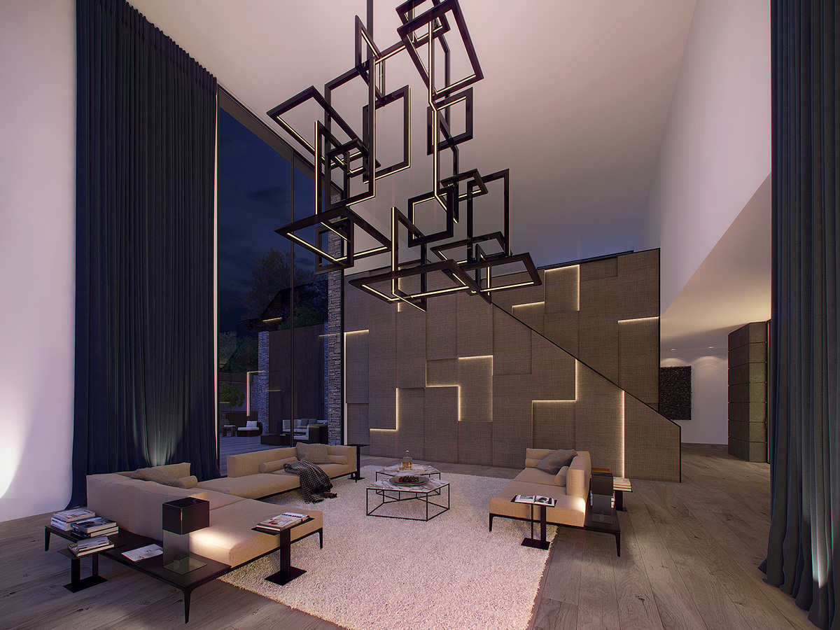 Expansive white walls and dramatic black curtains have minimalistic appeal, punctuated by a unique staircase clad with tessellated panels. Integrated lighting makes this artful installation look like it glows from within.