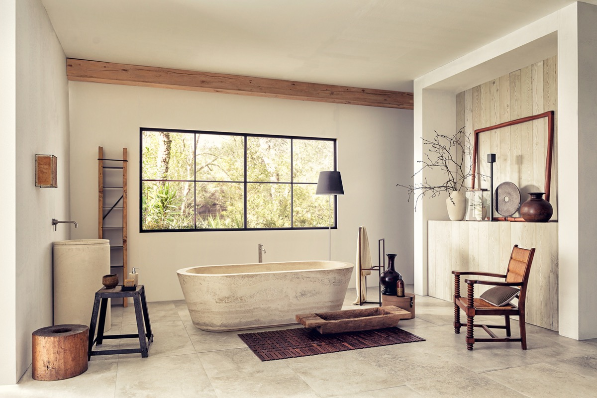 Organic, classic, and slightly rustic - the rich marbling and warm colors of the travertine stone invites relaxation. Travertine is especially well-suited for bathrooms because it's formed over time from the mineral deposits left behind by hot springs.
