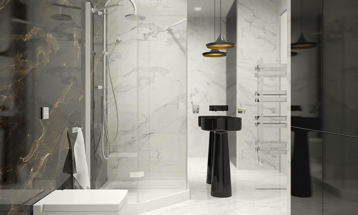 Black And White Marble Bathroom Interior Design Ideas