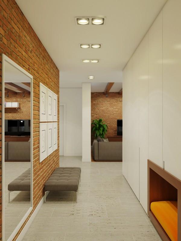 brick hallway decor