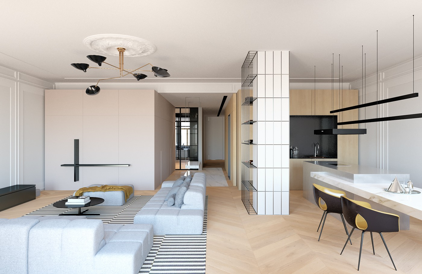 Modern Decor Meets Classical Features In Two Transitional