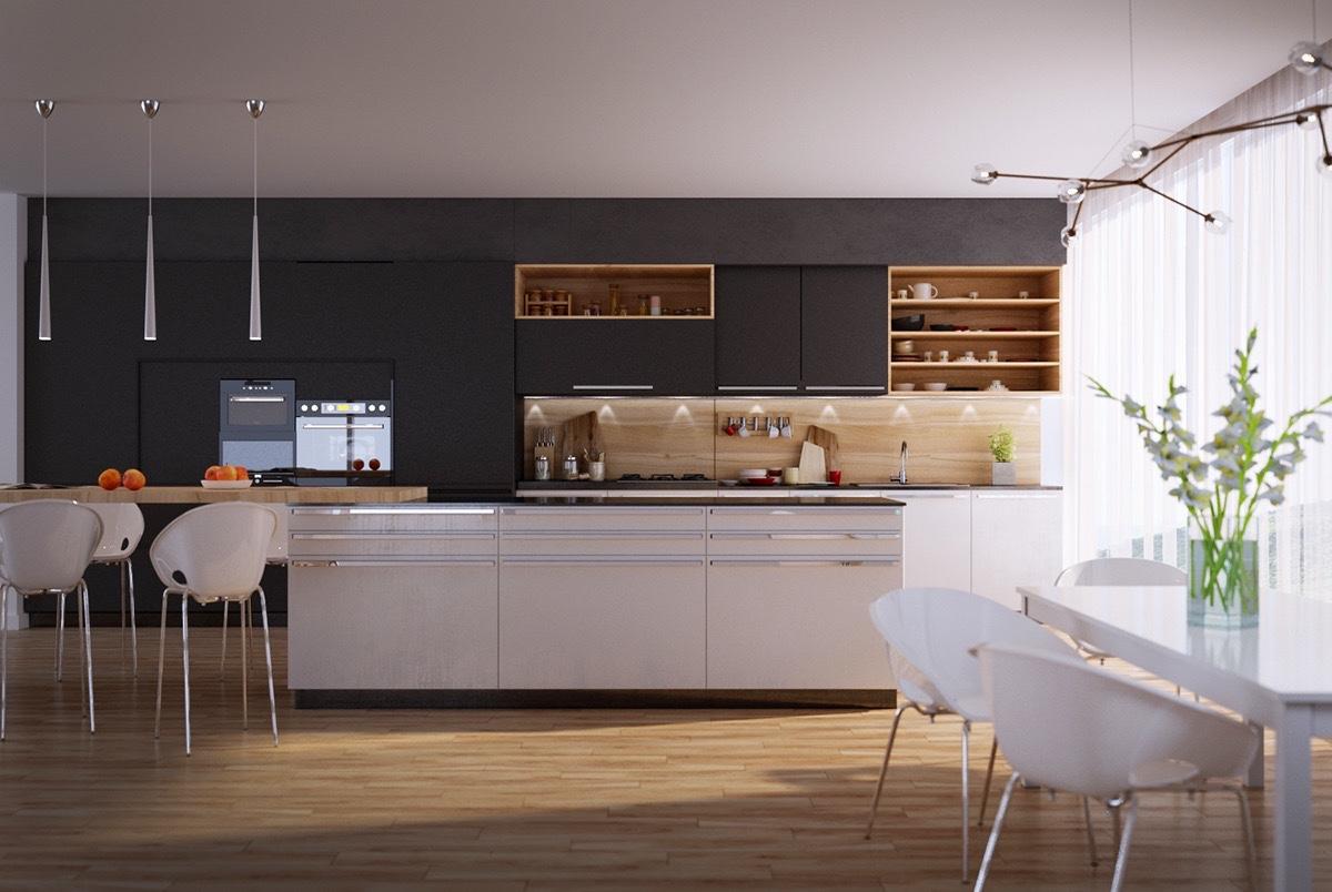 50 Modern Kitchen Designs That Use Unconventional Geometry on Modern Kitchen Design  id=43697