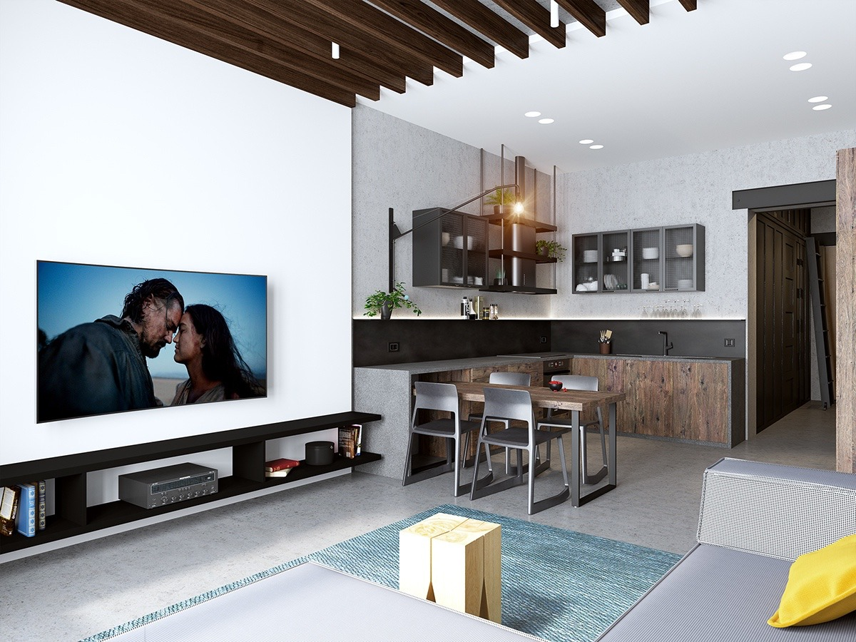 Best Kitchen Gallery: Handsome Small Apartments With Open Concept Layouts of Visual Home Design  on rachelxblog.com
