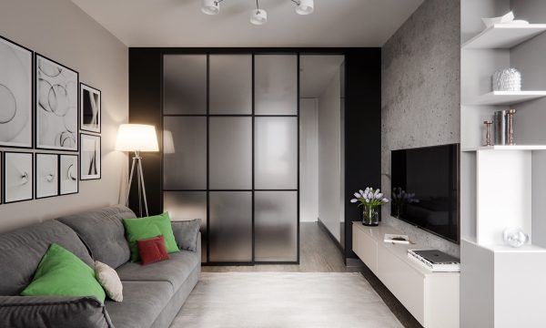 Its not entirely obvious that the interior is technically a studio the glazed sliding door does a fantastic job of concealing the bedroom from view