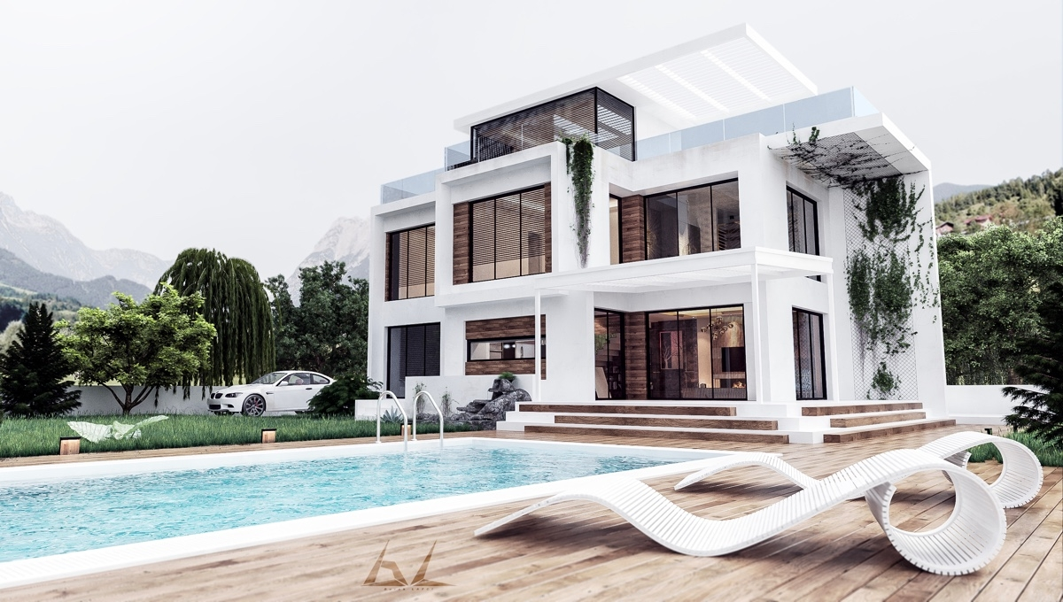 50 Stunning Modern Home Exterior Designs That Have Awesome Facades | Stair Room Exterior Design | 3 Floor Building | Box Type | Brick | Open Plan | Amazing