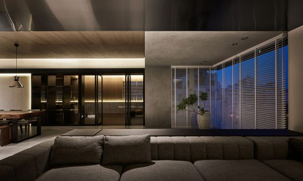 Black Acrylic, Glass and Stone Form This Dark and Sophisticated ...