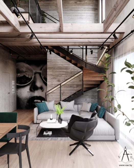 Warm Industrial Style House With Layout Mixed Sign
