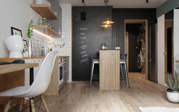 Beneath Two Industrial Dining Pendants, A Wooden Bar Table Runs Directly  Into A Wall Decorated With Chalkboard Paint. The Treated Wall Makes A Handy  Place ...