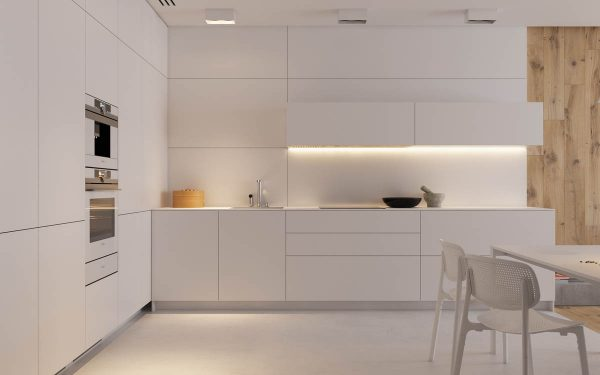 This Plain White Handle Free Design Benefits From Some Soft Lighting  Located Underneath The Wall Cabinets.