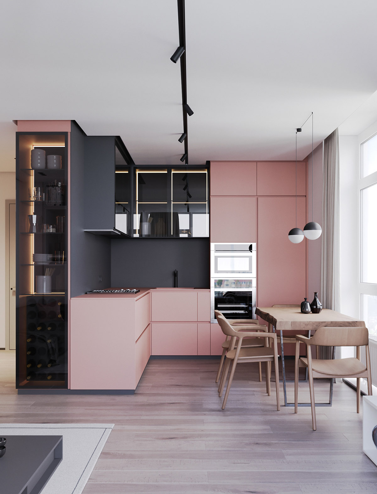 A Striking Example Of Interior Design Using Pink Amp Grey