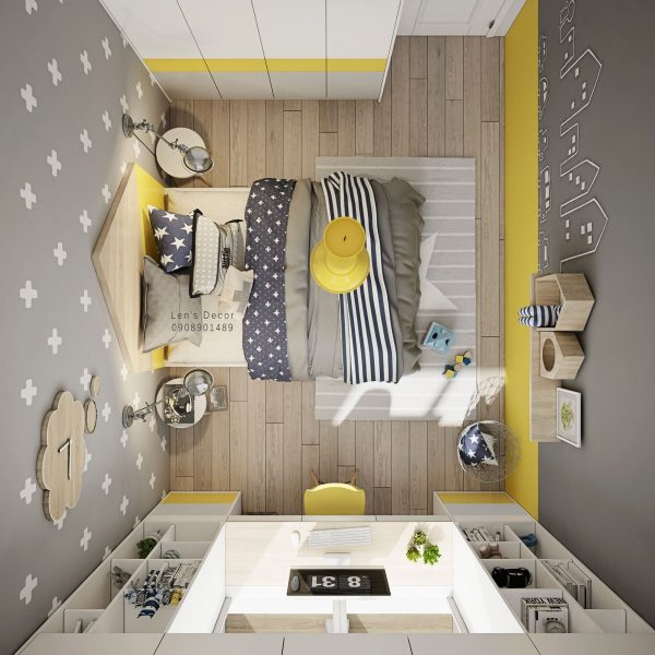 Exceptional A Yellow Bedroom Pendant Light And Kidsu0027 Desk Chair Add Splashes Of  Sunshine To The Grey Room.