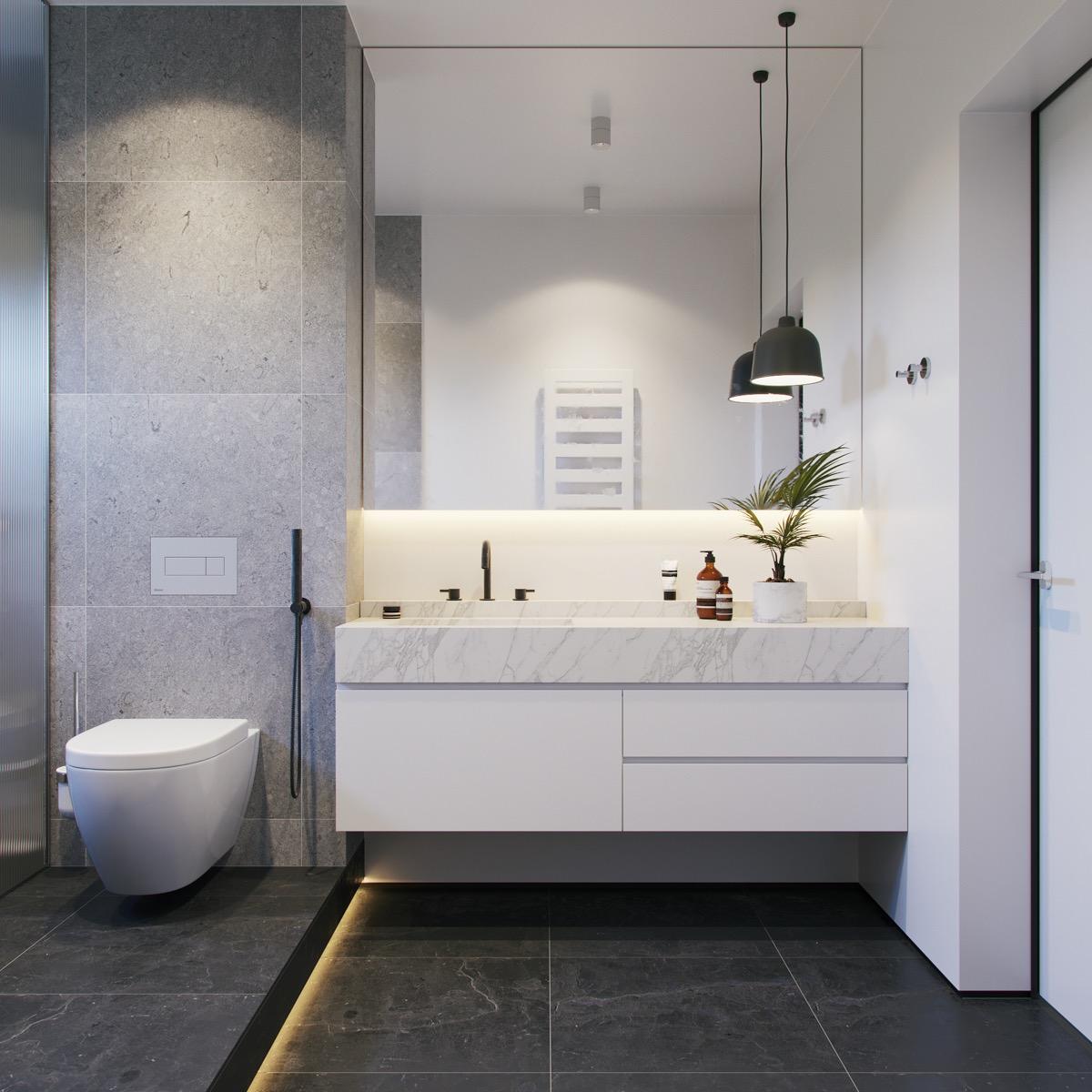 36 Modern Grey & White Bathrooms That Relax Mind Body & Soul on Restroom Ideas  id=97718