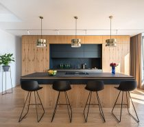 Black-kitchen-bar-stools-1-210x185 Modern Minimalist Apartment Designs Under 75 Square Meters (808 Square Feet) Upholstery in Victoria