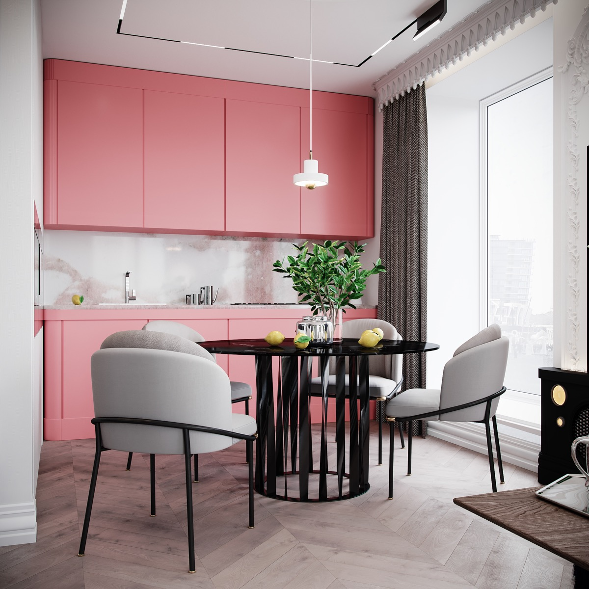 flamingo pink kitchen cabinets with marble backsplash and countertop pink kitchen decor pink on kitchen decor pink id=92231