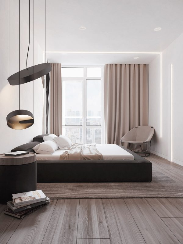 Bedroom-pendant-lights-1-600x800 Black, White & Beige Apartment For The Fashionista