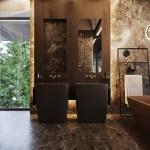 Dramatic Interior With Luxury Closets Bathrooms