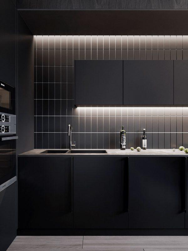 Black-tiles-600x800 Black, White & Beige Apartment For The Fashionista
