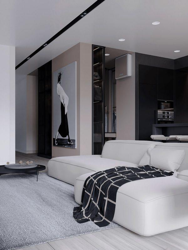 Checkered-throw-600x800 Black, White & Beige Apartment For The Fashionista