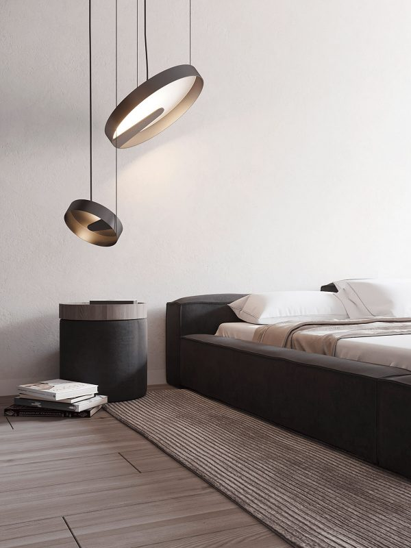 Modern-bedside-table-600x800 Black, White & Beige Apartment For The Fashionista