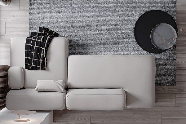 Modular-sofas-600x400 Black, White & Beige Apartment For The Fashionista