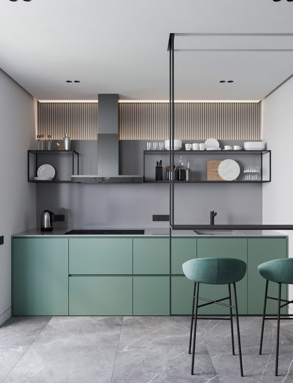 Open-kitche-shelving-600x785 Modern Minimalist Apartment Designs Under 75 Square Meters (808 Square Feet) Upholstery in Victoria