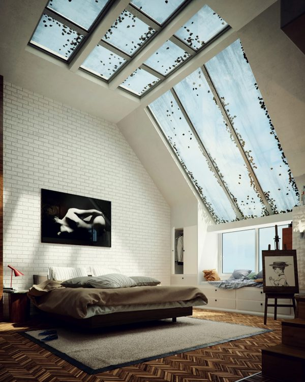 Sloped-skylight-600x751 Indoor Skylights: 37 Beautiful Examples To Tempt You To Have One For Yourself