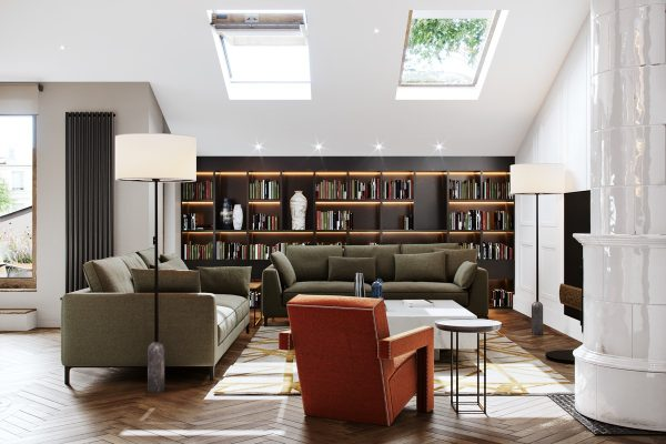 contemporary-living-room-with-skylights-600x400 Indoor Skylights: 37 Beautiful Examples To Tempt You To Have One For Yourself