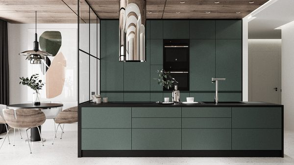 flat-kitchen-storage-cabinets-600x338 Modern Minimalist Apartment Designs Under 75 Square Meters (808 Square Feet) Upholstery in Victoria