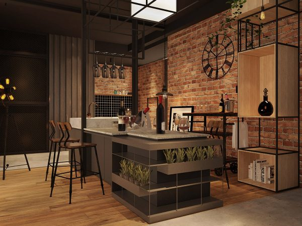 industrial-style-kitchen-diner-600x450 Three Industrial Style Lofts WIth Natural Accents Upholstery in Victoria
