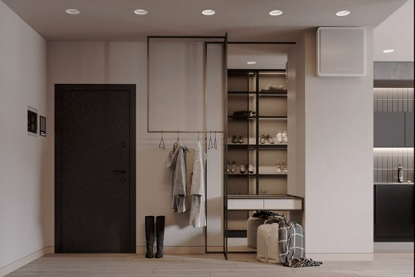 makeup-vanity-600x400 Black, White & Beige Apartment For The Fashionista