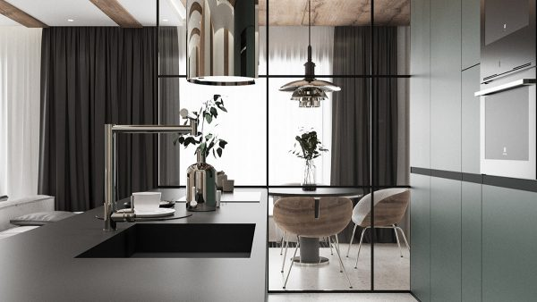 metal-kitchen-room-divider-600x338 Modern Minimalist Apartment Designs Under 75 Square Meters (808 Square Feet) Upholstery in Victoria
