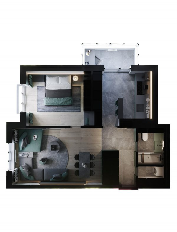 minimalist-apartment-floor-plan-600x785 Modern Minimalist Apartment Designs Under 75 Square Meters (808 Square Feet) Upholstery in Victoria