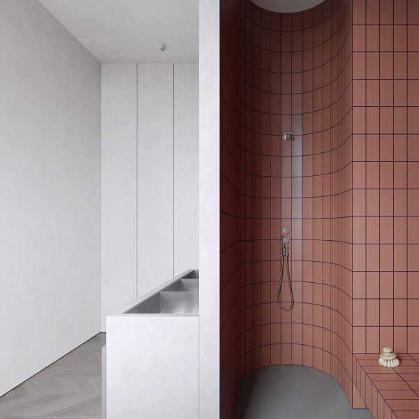 minimalist-tiled-shower-600x600 Modern Minimalist Apartment Designs Under 75 Square Meters (808 Square Feet) Upholstery in Victoria