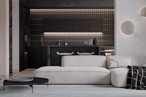 modern-coffee-table-600x400 Black, White & Beige Apartment For The Fashionista
