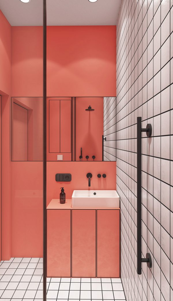 modern-small-bathroom-design-600x1044 Modern Minimalist Apartment Designs Under 75 Square Meters (808 Square Feet) Upholstery in Victoria