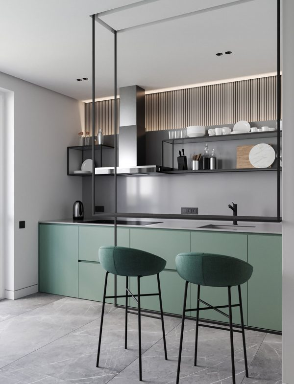 one-wall-minimalist-kitchen-600x785 Modern Minimalist Apartment Designs Under 75 Square Meters (808 Square Feet) Upholstery in Victoria