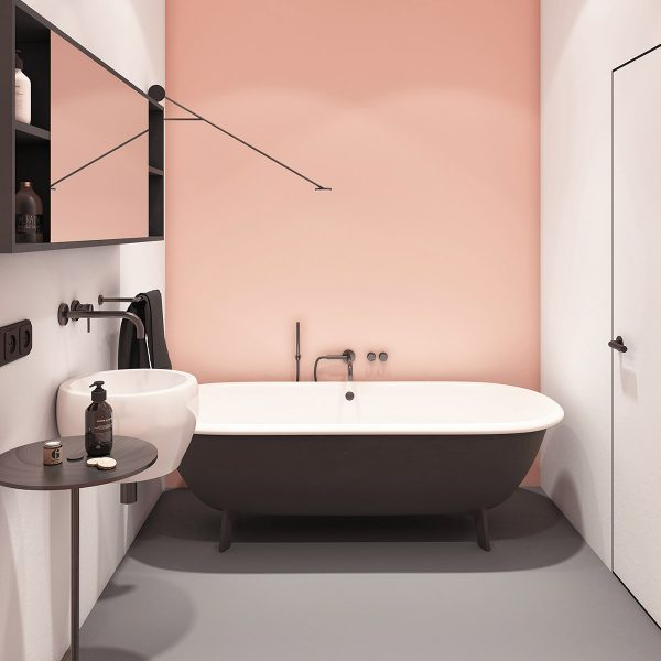 pink-accent-wall-behind-clawfoot-tub-600x600 Modern Minimalist Apartment Designs Under 75 Square Meters (808 Square Feet) Upholstery in Victoria