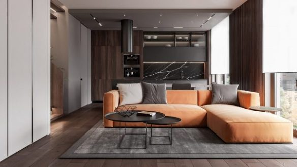 Excellent Penthouse Interior Design With Orange Accents Free Autocad Theyellowbook Wood Chair Design Ideas Theyellowbookinfo