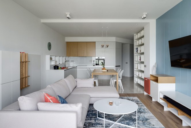 Modern Apartments With Red And Blue Decor