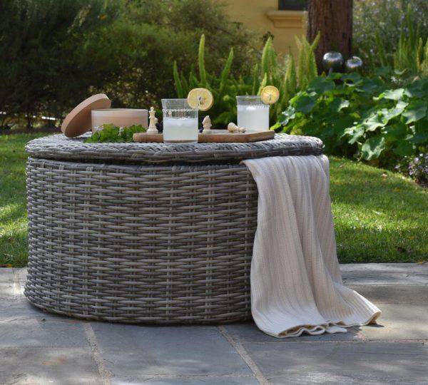 round patio coffee table with storage barkeaterlake com