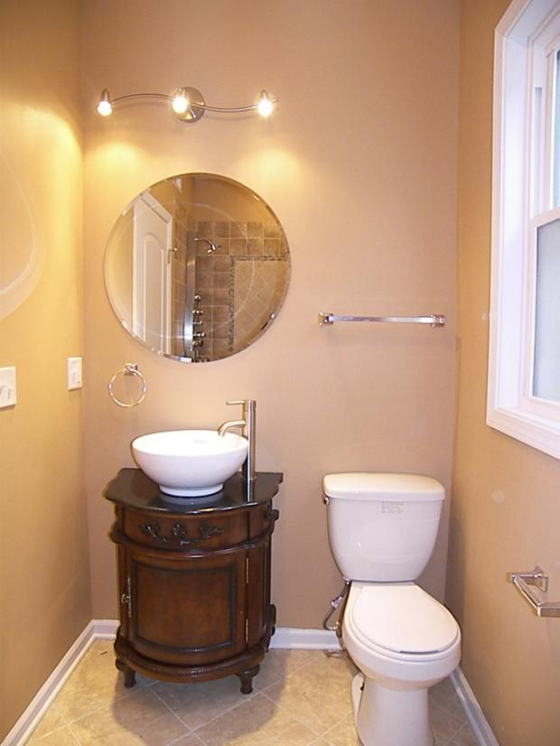 Traditional Powder Room In Palos Hills Tan Tile Shower