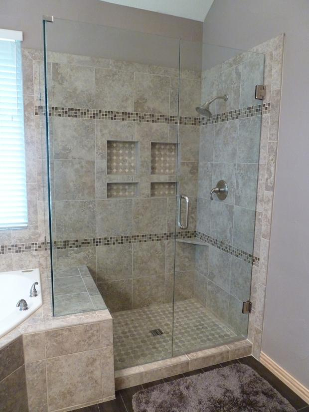 Contemporary Bathroom In Dallas Detailed Tile Shower