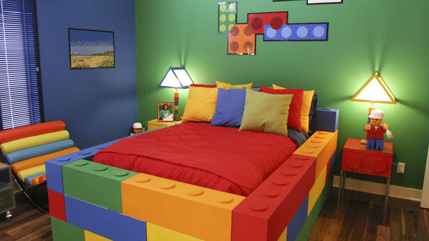Lego Inspired Light Fixture Pillows Murals And Cabinets Turn This Room Into
