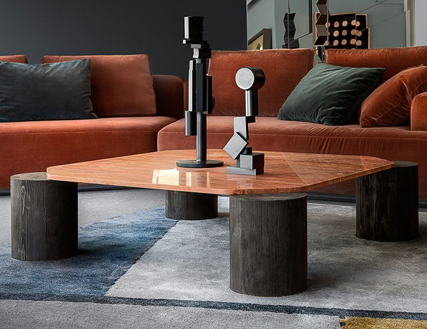 coffee table with tree trunk legs