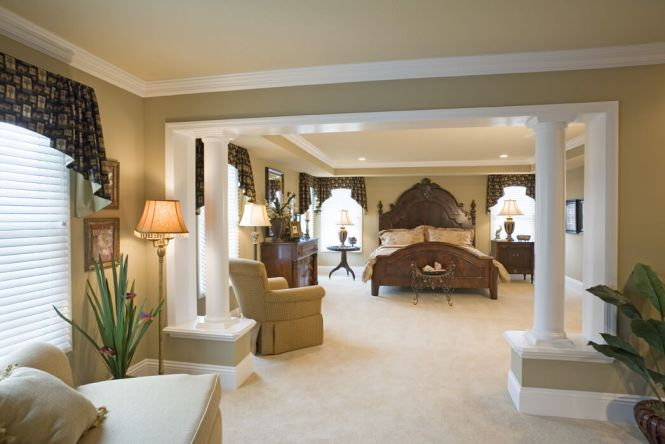 Large Master Bedrooms With Sitting Area That Includes A Sofa And Chair The Room Continues