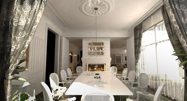With Fireplace Dining Room Design