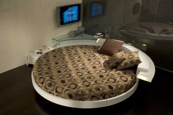Contemporary Leather Round Beds By Prealpi