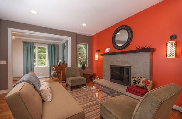 Red Orange Blue Living Room