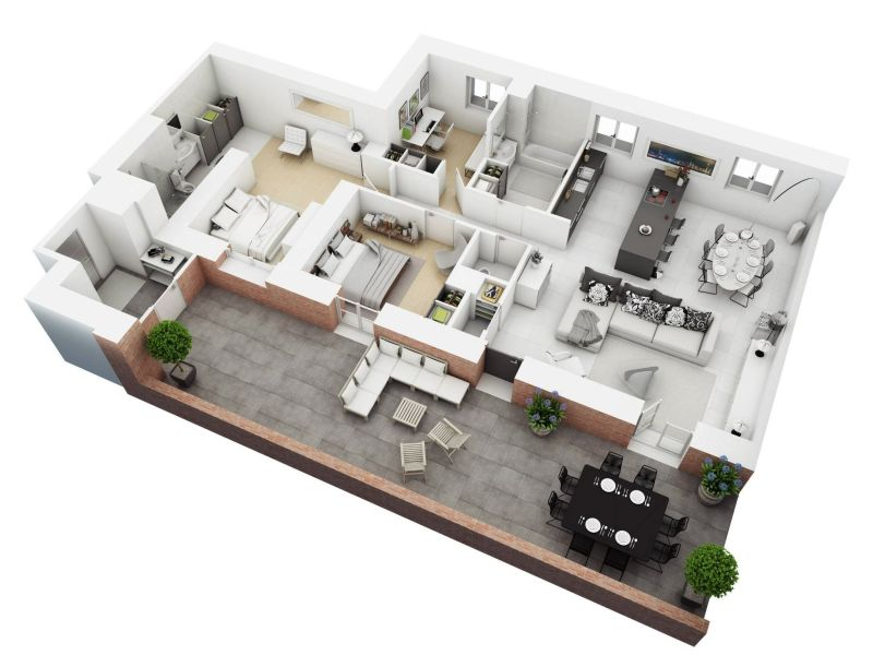 Understanding 3D Floor Plans And Finding The Right Layout For You 3 bedroom floor plans  View in gallery