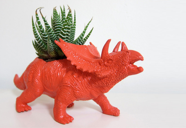 dinosaur triceratops planter gardening home decor diy